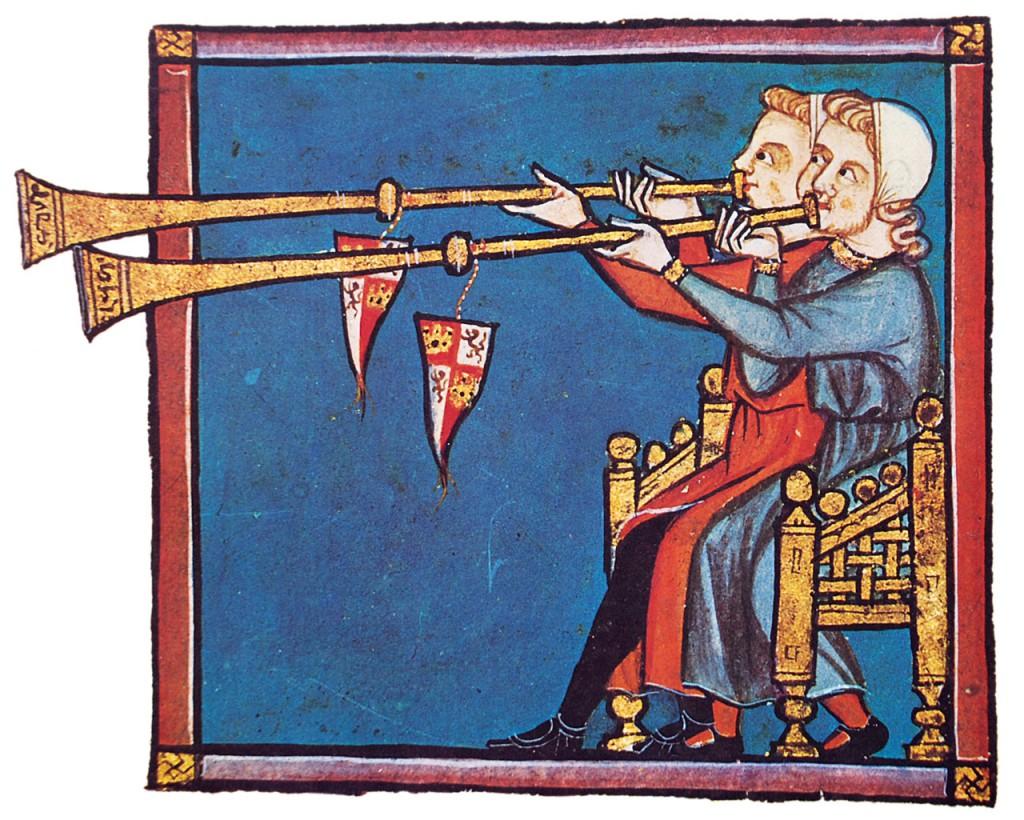 Tocadores de trompeta nas Cantigas de Santa María (cantiga 320, códice j.b.2, século XIII).  Fotografía do autor.