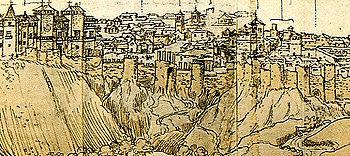 Muralla musulmana de Madrid (dibujo realizado por Anton Van der Wyngaerde en 1562)