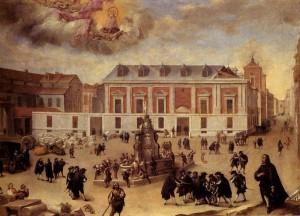 """""""Milagro de la Virgen de Atocha en las obras de construcción de la Casa de la Villa"""", obra anónima, ca. 1650"""
